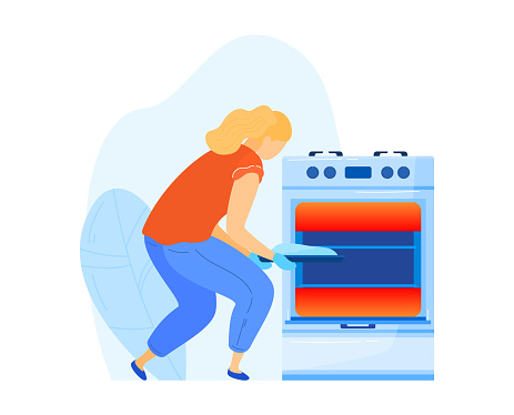 Girl cooking oven, woman working kitchen, mother making food, putting pie furnace, design, flat style vector illustration.