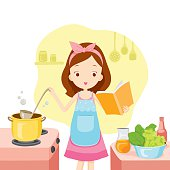 Girl Cooking Soup With Cookbook