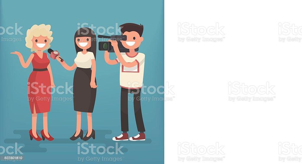 Girl correspondent interviews the woman. Employment television journalist vector art illustration
