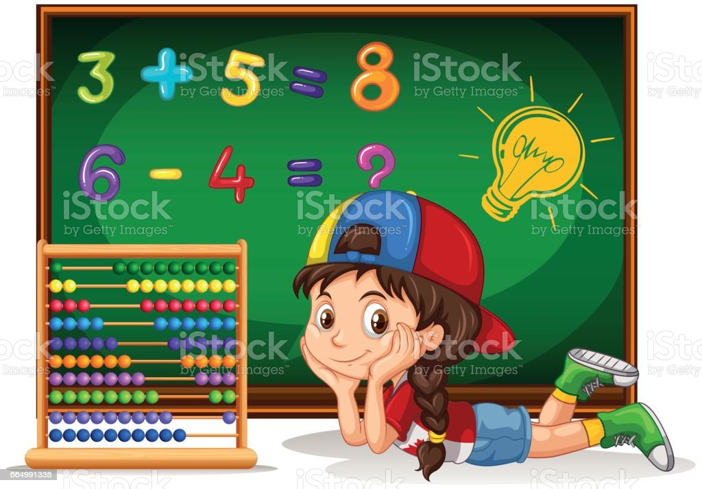 Girl counting numbers on board vector art illustration