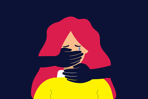 Suffocated woman that needs help. Flat design vector illustration.