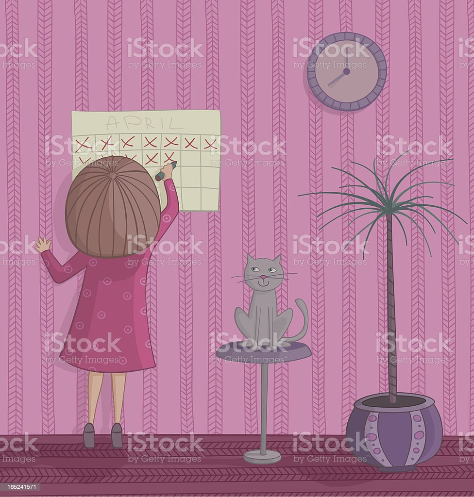 Girl cross out day on the calendar royalty-free stock vector art