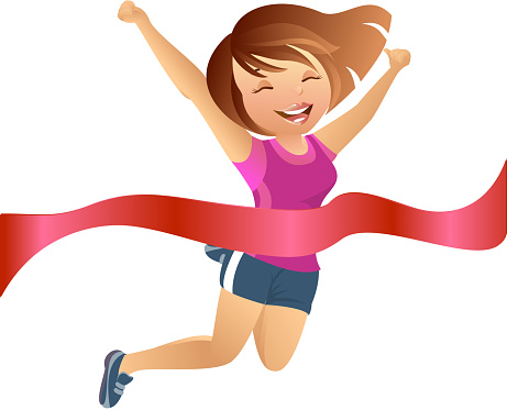 Girl Crossing the Finish Line