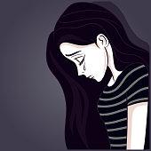 brunette girl sad with stripe shirt in dark background
