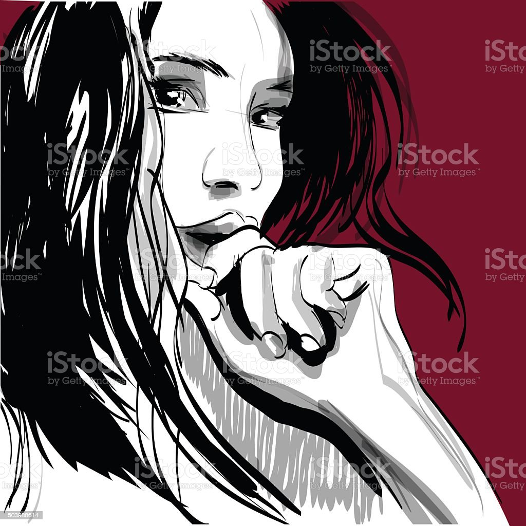 Girl crying woman face. Human emotions. Vector illustration vector art illustration
