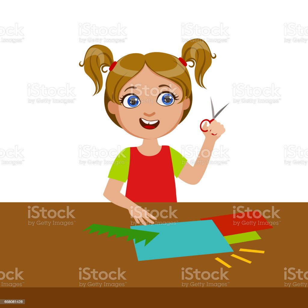 Girl Cutting Grass Shape For Applique, Elementary School Art Class Vector Illustration royalty-free girl cutting grass shape for applique elementary school art class vector illustration stock vector art & more images of art