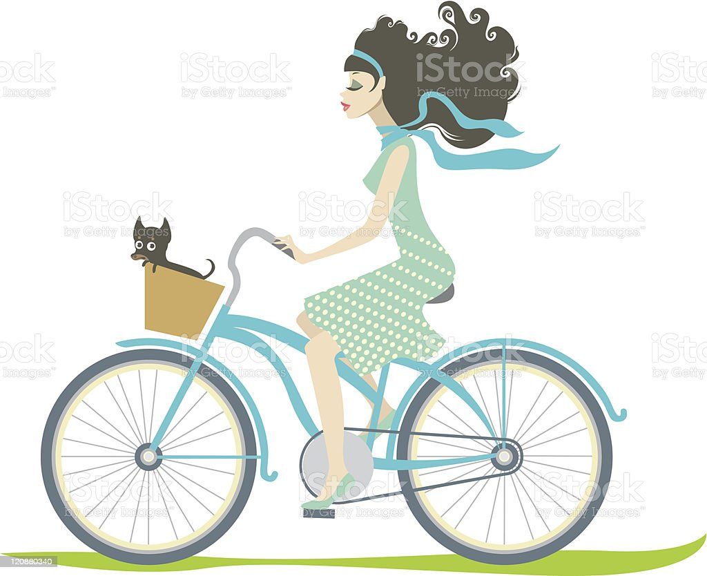 Girl cycling with her little dog royalty-free stock vector art