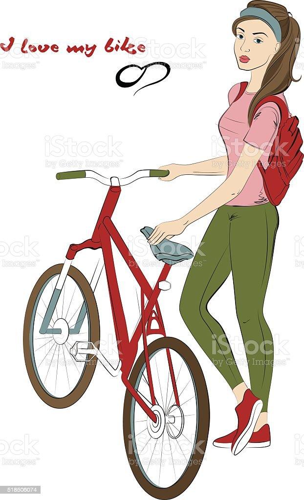 Girl Cyclist Girl Near Bike Handdrawing Stock Vector Art More