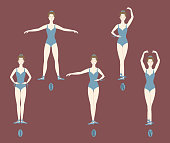 Young girl dancer performs the five basic ballet positions. Right proper posture, legs and hand placement. For learning in studio or indoors. Siolated on brown background