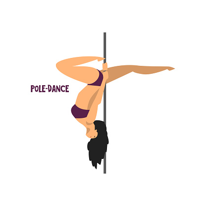 Girl dancing pole dance vector Illustration on a white background