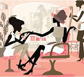 Illustration of a woman in a hair salon getting a manicure while having her nails done… This illustration can be used for numerous concept related to hair salon and grooming in general. This illustrations contains many single elements.