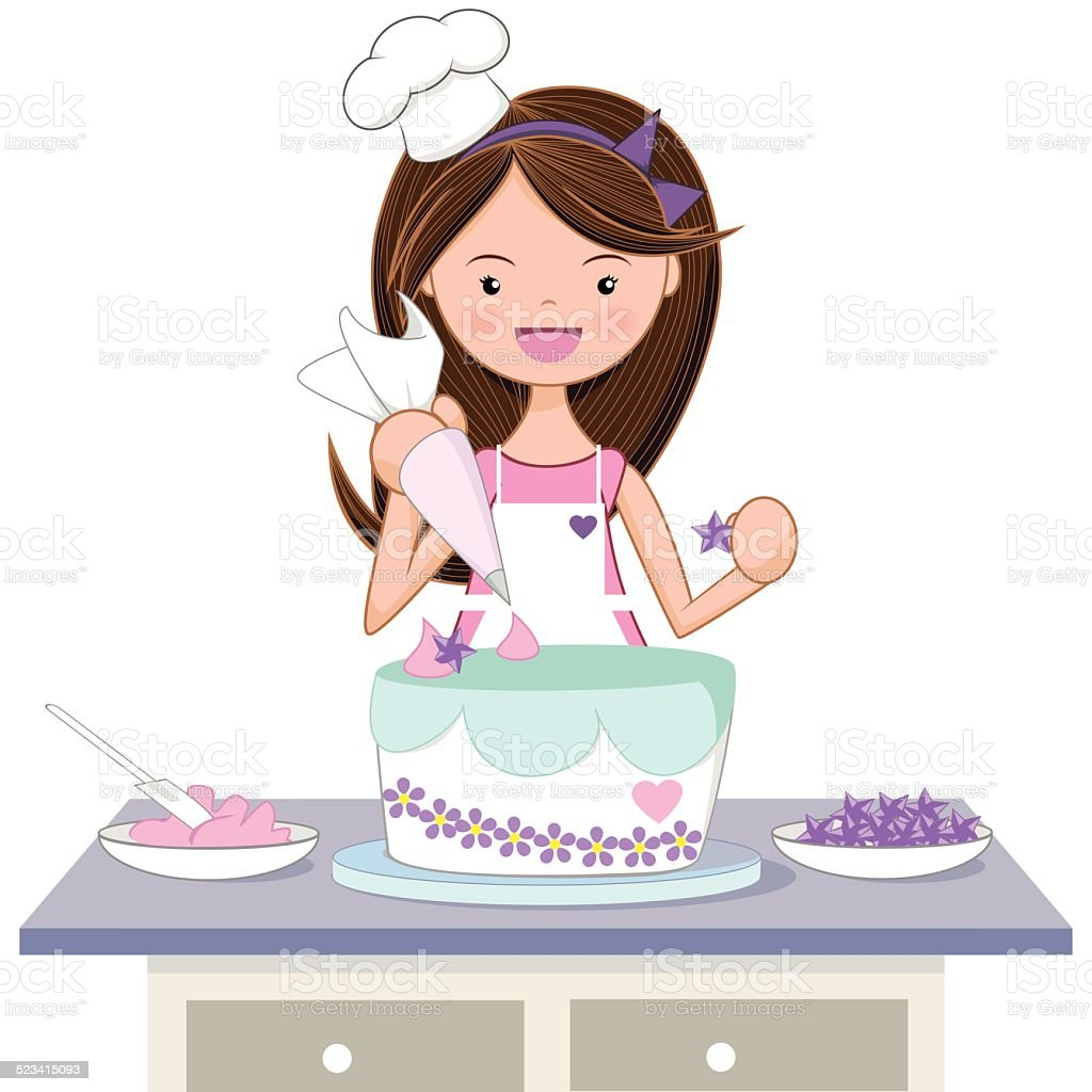 Girl decorating cake vector art illustration