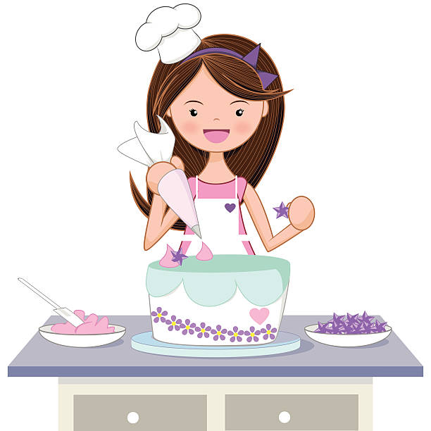 Girl decorating cake Little girl decorating delicious cake using one pastry bag and sweets stars, vector illustration. decorating a cake stock illustrations