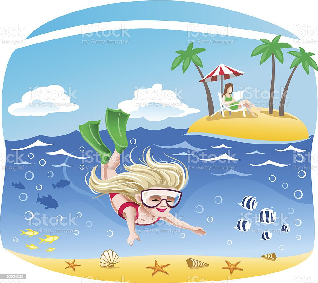 Girl dives into the sea vector art illustration