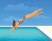 girl diving jumping into swimming pool