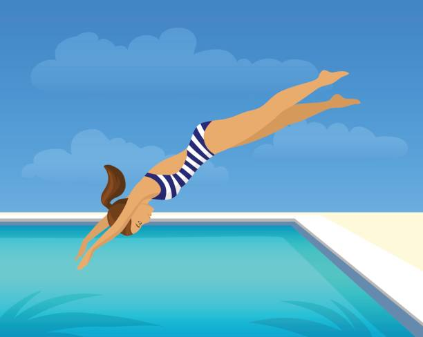 girl diving jumping into swimming pool girl diving jumping into swimming pool diving into water stock illustrations