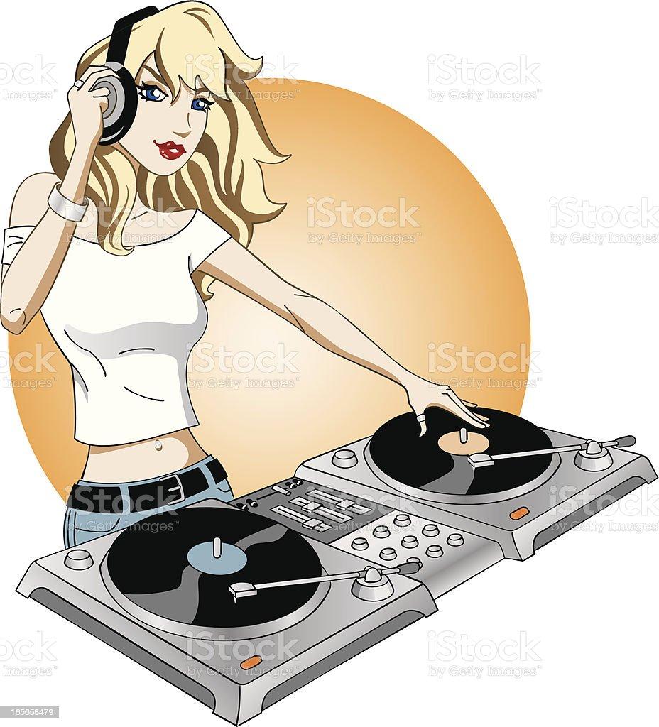 Girl DJ aRockin royalty-free stock vector art