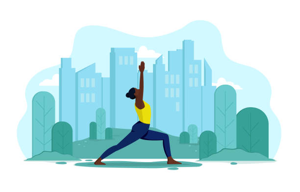 Girl does yoga in the park A young, flexible, slender girl of African appearance does yoga outdoors in a park. Vector concept of healthy lifestyle and outdoor sports. Girl on the background of the city and trees makes exercises active lifestyle stock illustrations