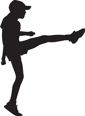 Girl Doing High Kick Silhouette