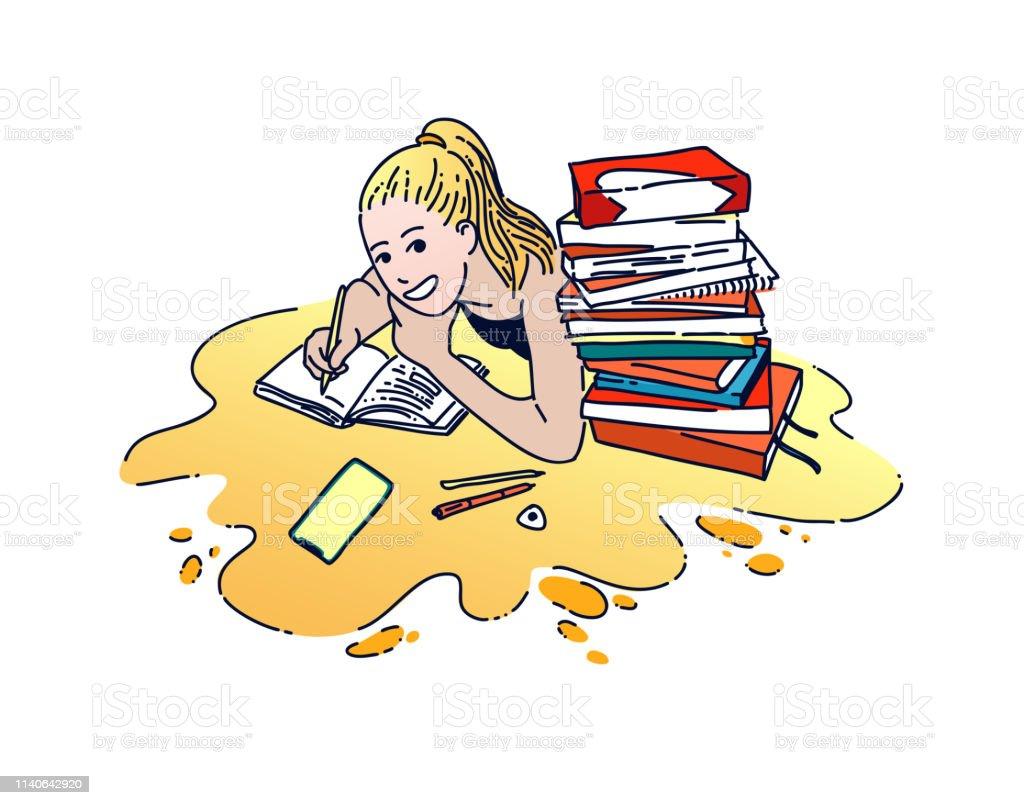 Girl Doing Homework Flat Hand Drawn Color Illustration Stock