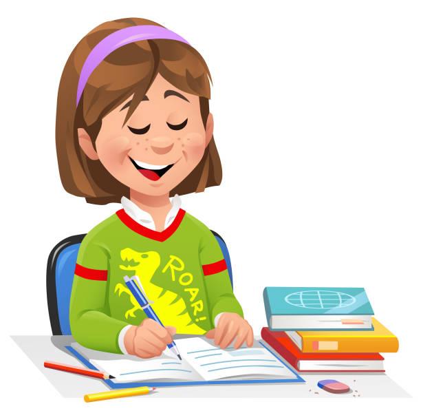 stockillustraties, clipart, cartoons en iconen met meisje huiswerk - alleen één meisje