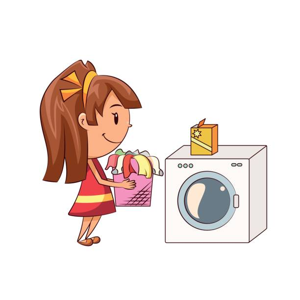 Girl doing laundry Child doing laundry, cute kid, domestic chores, girl helping at home, washing machine, holding basket, happy cartoon character, young woman, person, vector illustration, isolated, white background laundry basket stock illustrations