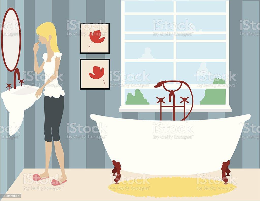 Mädchen Tun Makeup Im Badezimmer Stock Vektor Art und mehr Bilder ...