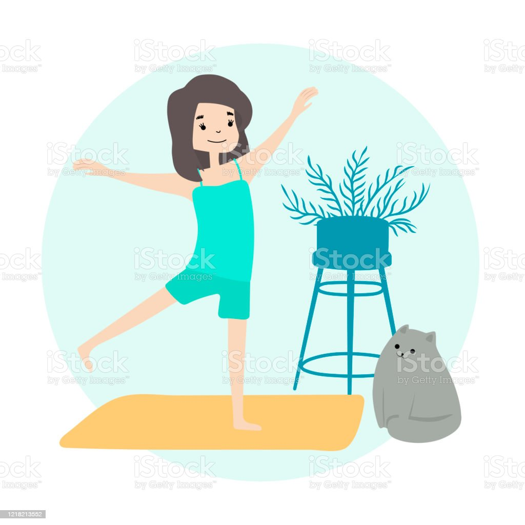 Girl Doing Morning Yoga At Home Stretching Fitness Wellness Healthcare Lifestyle Daily Routine Activities Life With Cat Vector Flat Stock Illustration Download Image Now Istock