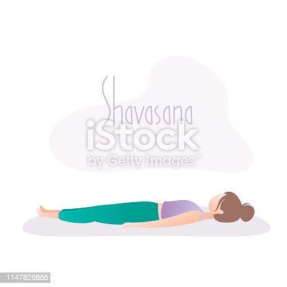 Girl doing yoga pose,Corpse Pose or Shavasana asana in hatha yoga,vector illustration in trendy style