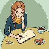 Vector illustration. Girl sitting on the table with pencil in the hand drawing in the sketchbook and drinking coffee with cupcakes