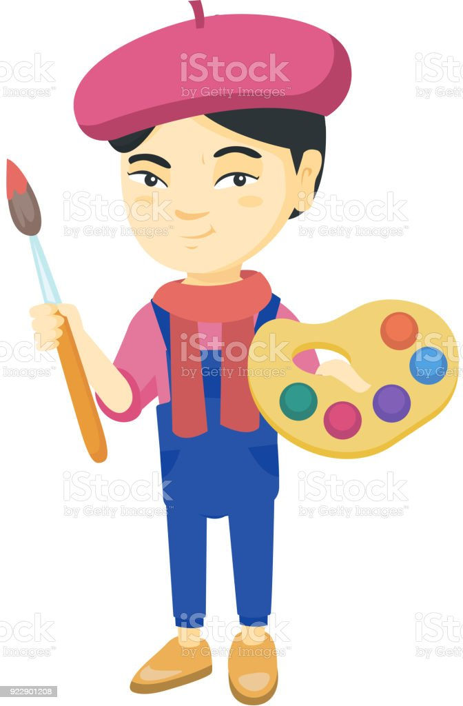 Girl dressed as an artist holding brush and paints vector art illustration
