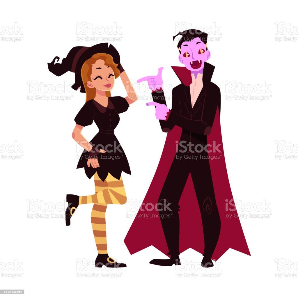 Mädchen Verkleidet Als Hexe Mann In Vampir Kostüm Halloweenparty ...