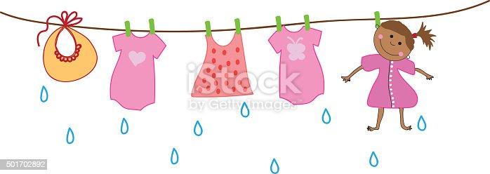 Femme s chant sur la corde linge avec le b b v tements apr s lavage cliparts vectoriels et - Mauvaise odeur linge apres lavage ...