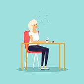 Girl drinking coffee. Flat design vector illustration.
