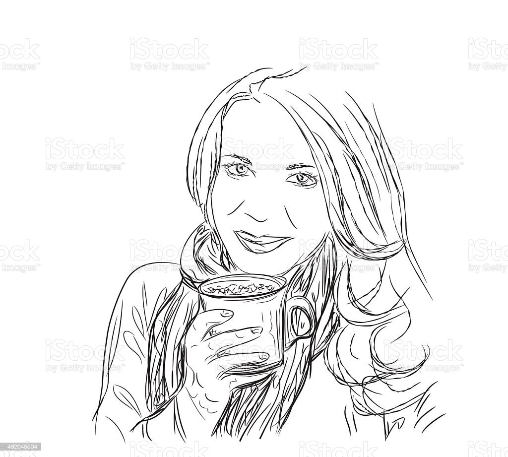 This is a picture of Dynamite Girl Drinking Drawing