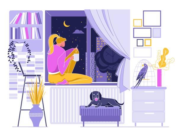 illustrations, cliparts, dessins animés et icônes de fille buvant le café chaud près de la fenêtre, ciel de nuit. - cage animal nuit