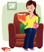 Young woman reading a book and having a hot drink, while relaxing at home. Girl/chair element is isolated from background (as is book on floor), and completely movable.