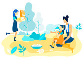 Girl Drinking Milk from Glass Sitting near Mother. Girl with Package Milk and Cheese in Hands. Vector Illustration. People on Farm. Natural Products. Family Spend Time Together in Garden.