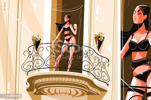 Girl drinking morning coffee vector illustration. Seductive young woman in sensual lingerie standing on balcony and holding cup of hot beverage flat style design