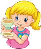 A girl drinking tea illustration
