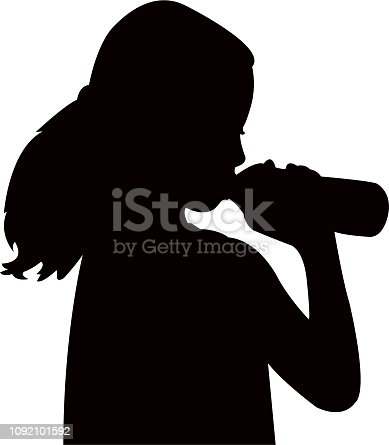 girl drinking water, silhouette vector