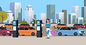 girl driver paying to parking place by smartphone at pay station ticketing machine nfc payment system concept modern cityscape background flat full length horizontal vector illustration