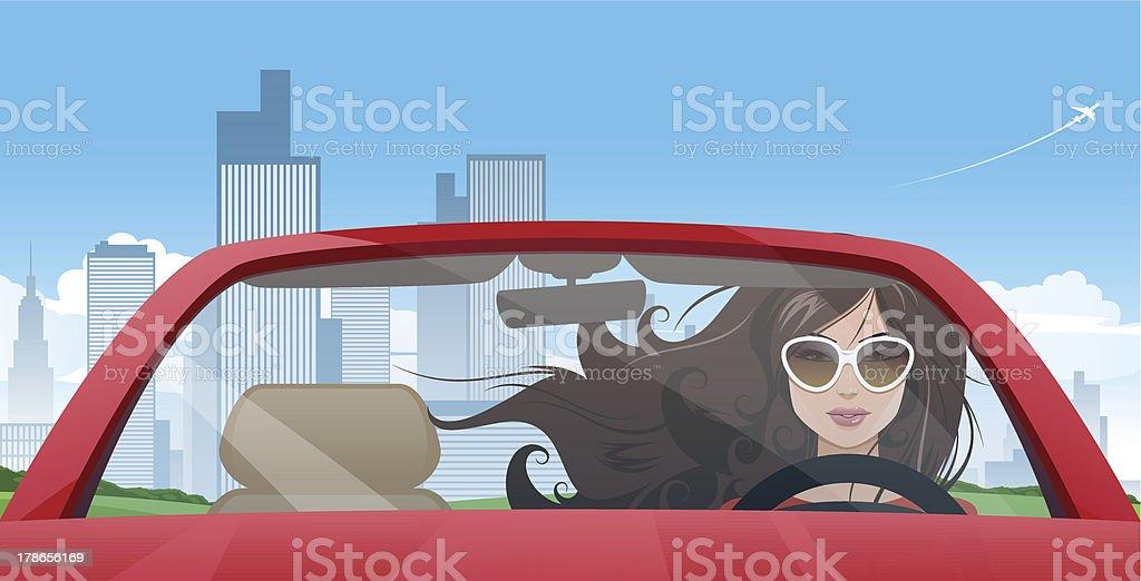 Girl driver royalty-free stock vector art