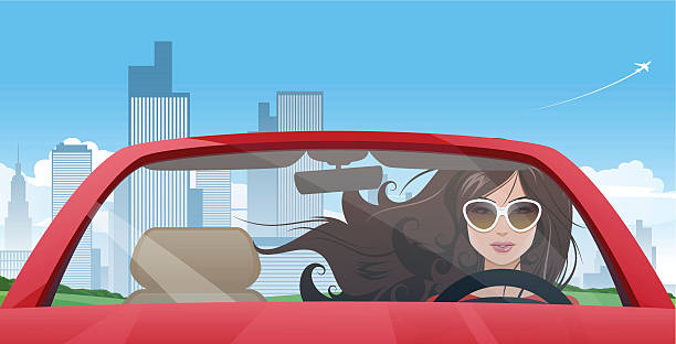 Girl driver A young attractive woman driving her red car. EPS 10. Transparency effects are used. A car with a woman and a background are on the separate layers. convertible stock illustrations