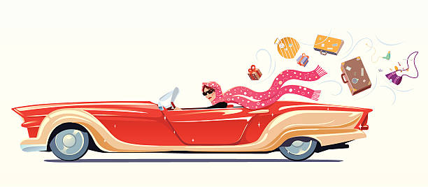 Girl drives the cabriolet  convertible stock illustrations