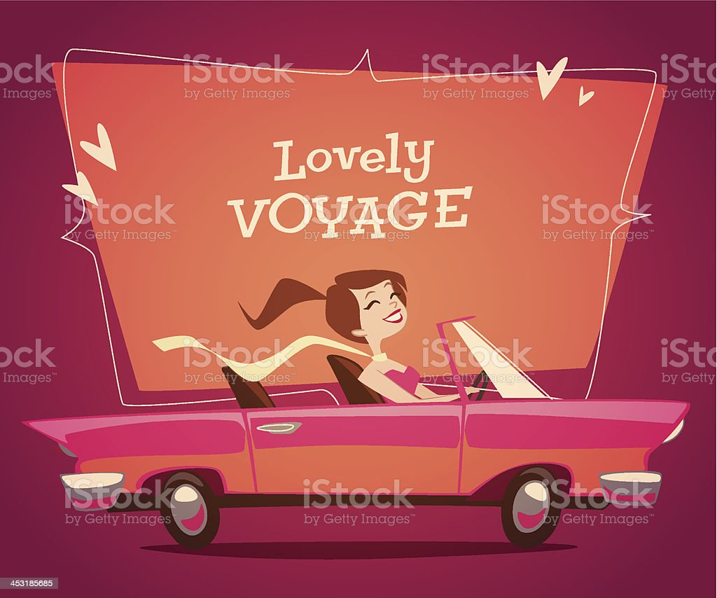 Girl driving car. Vector retro styled illustration. vector art illustration