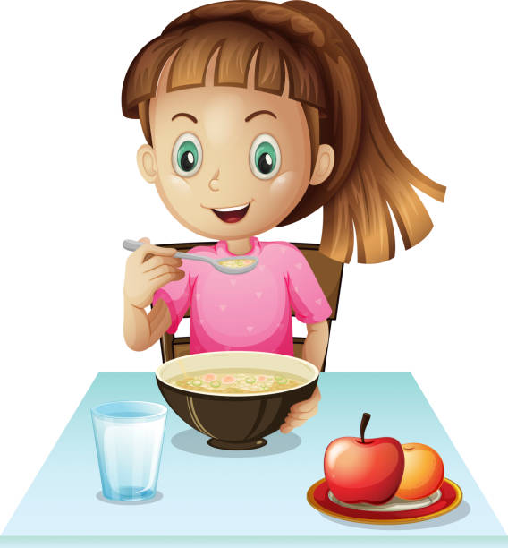 Kid Eating Breakfast Clip Art, Vector Images ...