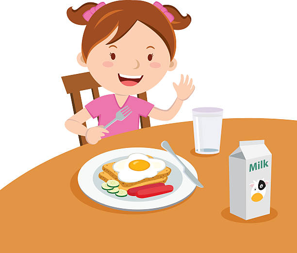 Girl eating breakfast vector art illustration