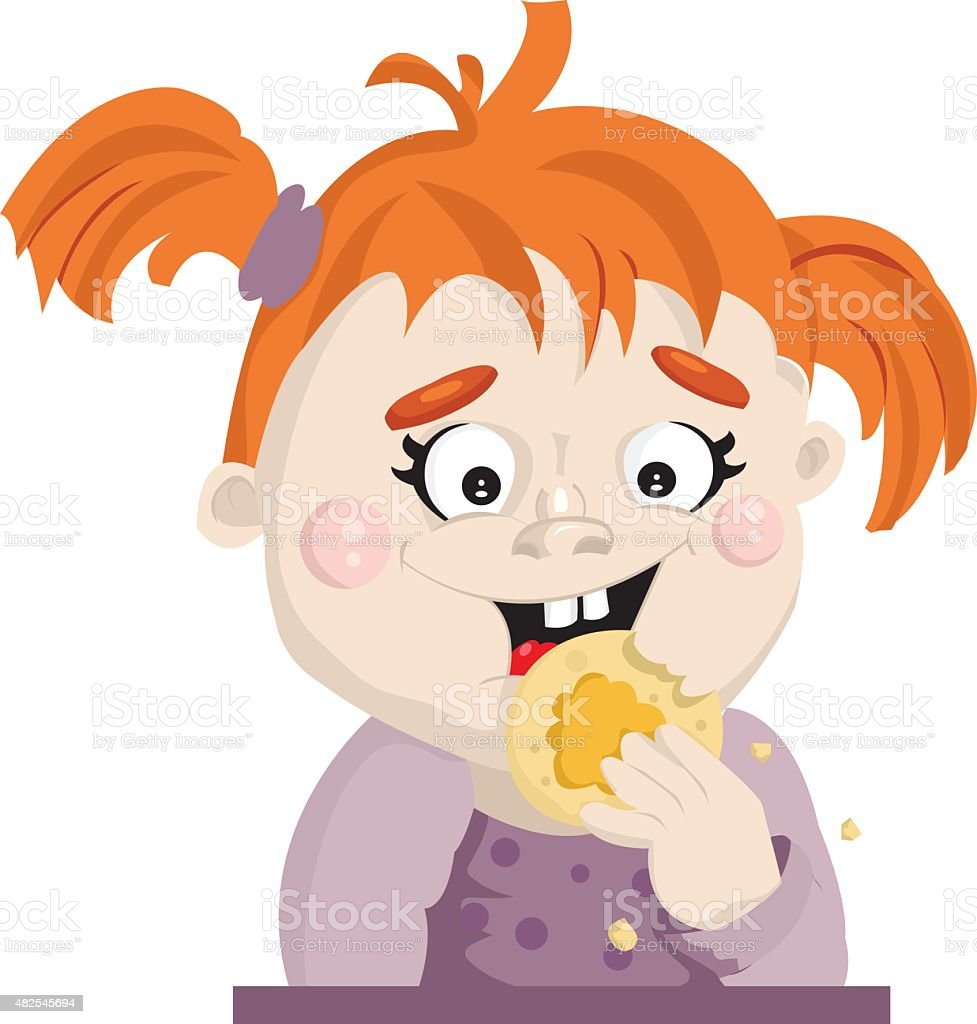 Girl eating cookies vector art illustration