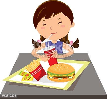 istock Girl eating fast food 512110228